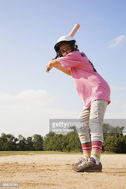 young girl playing softball - batting sports activity stock pictures, royalty-free photos & images