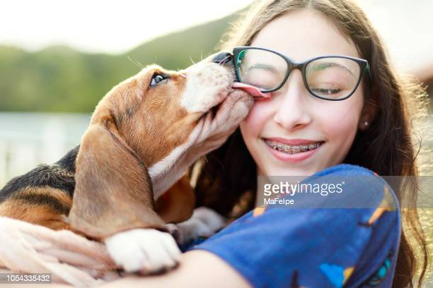 young girl playing with the dog while giving him a bath - occhiali da vista foto e immagini stock