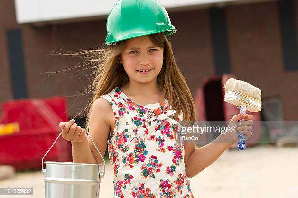 Young girl, plays house painter
