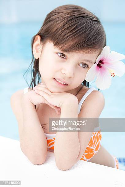 young girl pool portrait - aloha stock pictures, royalty-free photos & images