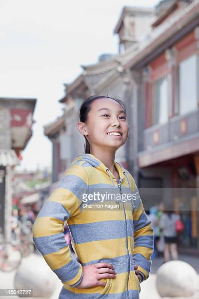 young girl portrait in houhai - three quarter front view stock pictures, royalty-free photos & images