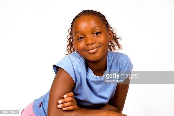 young girl portrait - 13 year old black girl stock photos and pictures