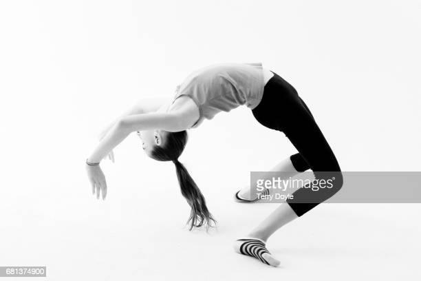 young girl practicing gymnastics