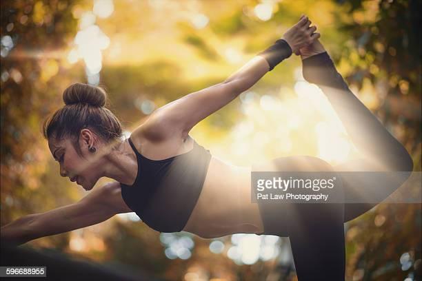 Young girl practising yoga