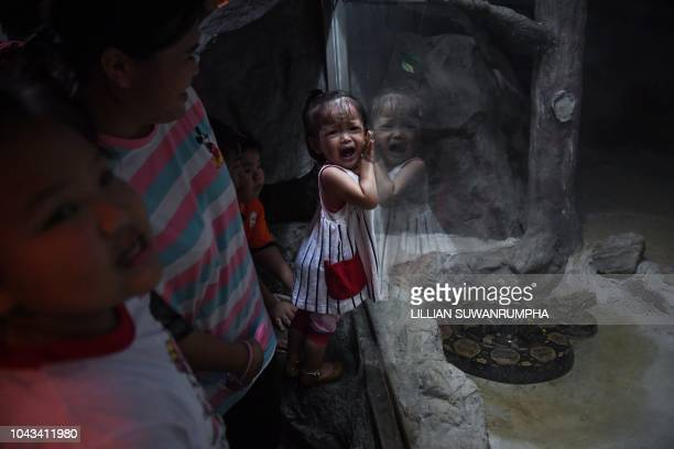 A young girl reacts after seeing a Burmese python on the last day of opening at Dusit Zoo in Bangkok on September 30 2018 Dusit Zoo the nation's...