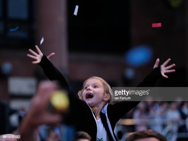 Young girl reacts as she watches the performance during the opening ceremony of the Great Exhibition of the North on June 22, 2018 in Newcastle Upon...