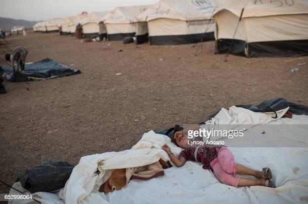 A young girl rests among other Iraqi Yazidi families dispalced from Sinjar mountains to the Bahjad Kandal camp near the Iraqi border with Syria in...