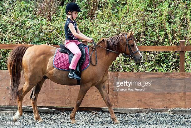 young girl riding chestnut pony in sandschool - のりものに乗る ストックフォトと画像