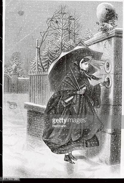 Young girl ringing doorbell After steel engraving in Godey's Magazine