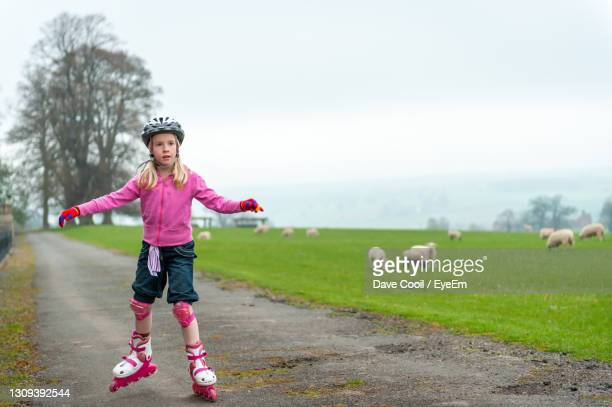 young girl roller skating past a field of sheep - skate sports footwear stock pictures, royalty-free photos & images
