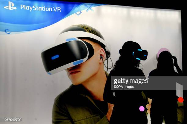 L´HOSPITALET BARCELONA SPAIN A young girl seen getting ready to play with virtual reality glasses on a Play Station during the Barcelona Games World...