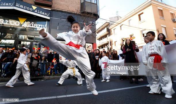 A young girl seen performing Chinese martial art during the chinese new year parade Thousand of participants take part in the Chinese New Year parade...
