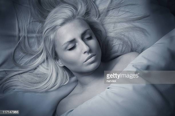 young girl sleeping - dead women stock photos and pictures