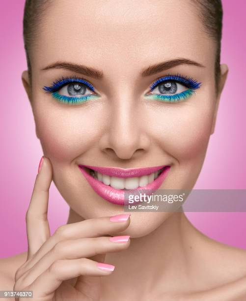 young girl smiling - eye make up stock photos and pictures