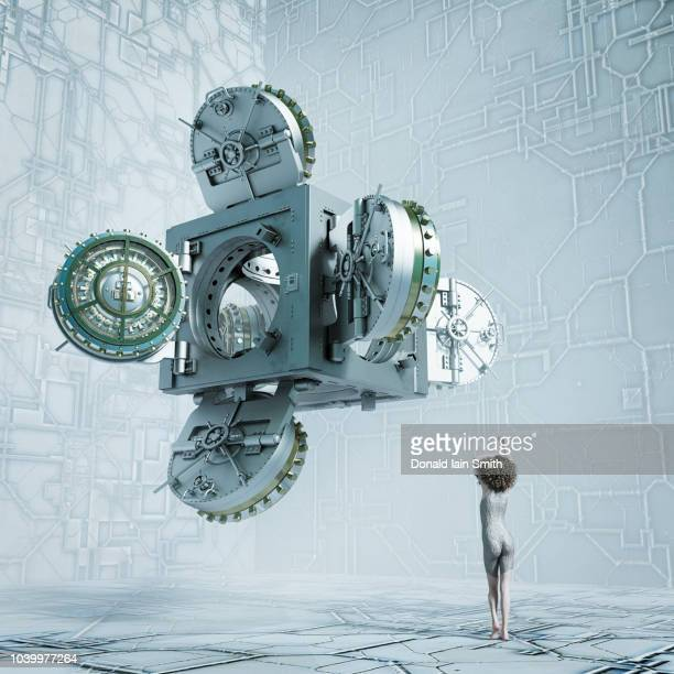 young girl standing looking up at surreal floating cube with multiple open doors - time travel stock pictures, royalty-free photos & images