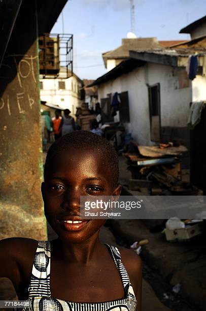 A young girl stands for a portrait in the center of Accra September 17 2007 in the Kintampo Health Center in Ghana Africa Candidates for drugs or...