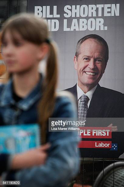 A young girl stands in front of a Labor poster during the Australian Labor Party 2016 Federal Campaign Launch at the Joan Sutherland Performing Arts...