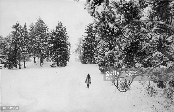 JAN 4 1976 A young girl strolls across a carpet of freshfallen snow in City Park after a storm dropped a white covering over the area Wednesday She...