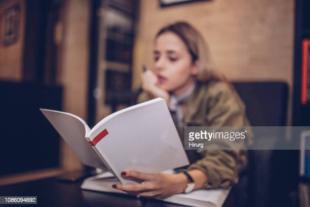young girl studying - red nail polish stock pictures, royalty-free photos & images