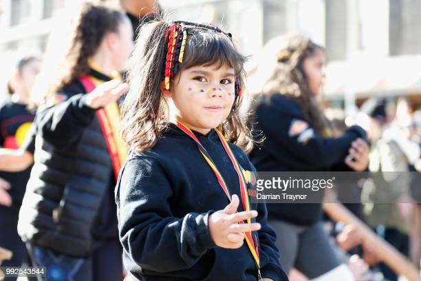 A young girl takes part in the NAIDOC march on July 6 2018 in Melbourne Australia The march marks the start of NAIDOC Week which runs this year from...
