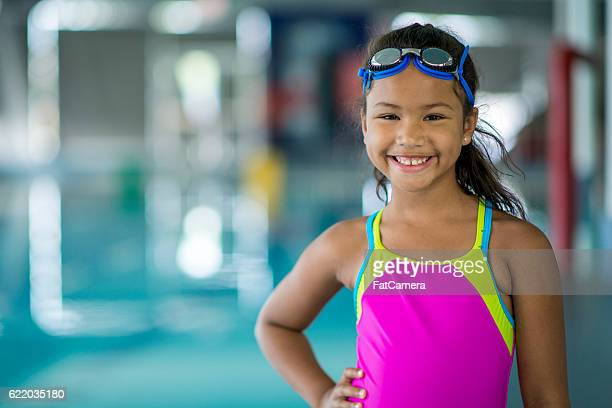 Young Girl Taking a Swim Class