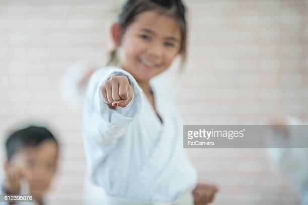 Young Girl Taking Karate