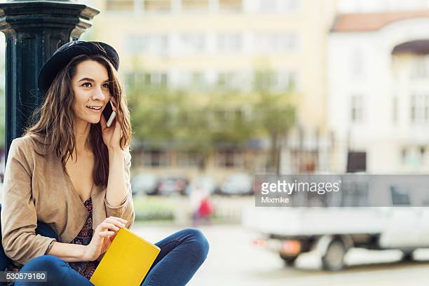 Young girl talking on cell phone
