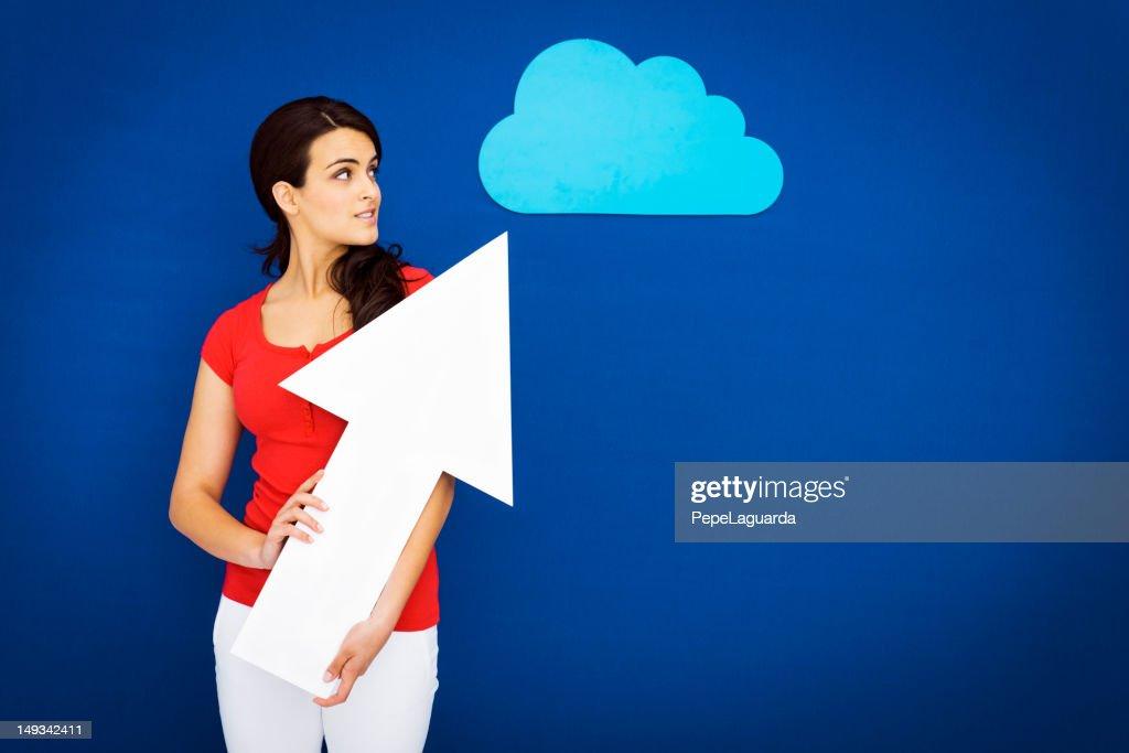 Young girl cargar a la nube : Foto de stock