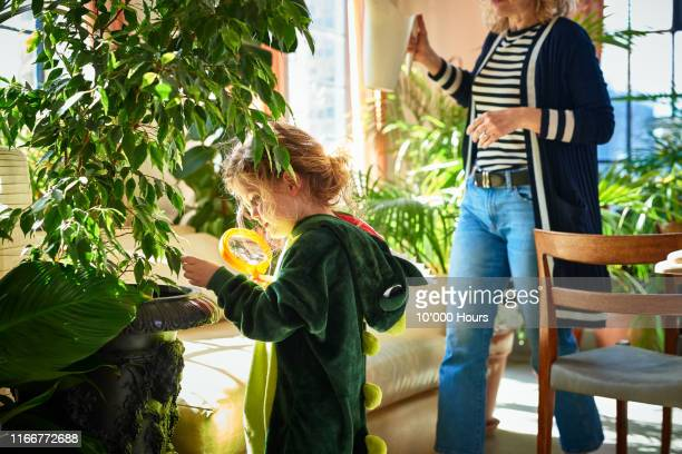 young girl using magnifying glass to study plants - environmental issues stock pictures, royalty-free photos & images