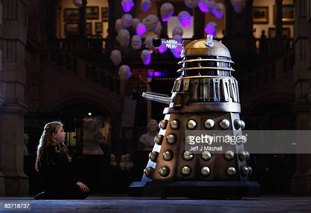 Young girl veiws a Dalek as Doctor Who exhibition tickets go on sale on November 17, 2008 in Glasgow, Scotland. Kelvingrove Art Gallery will host...