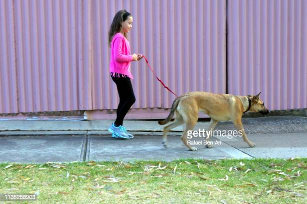 Young girl walking a dog in the street