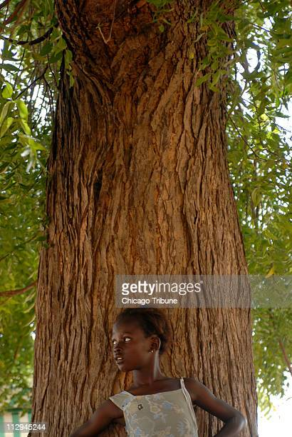 A young girl watches the celebration marking the 10year anniversary ending female genital cutting in the village of Malicounda Bambara Senegal on...