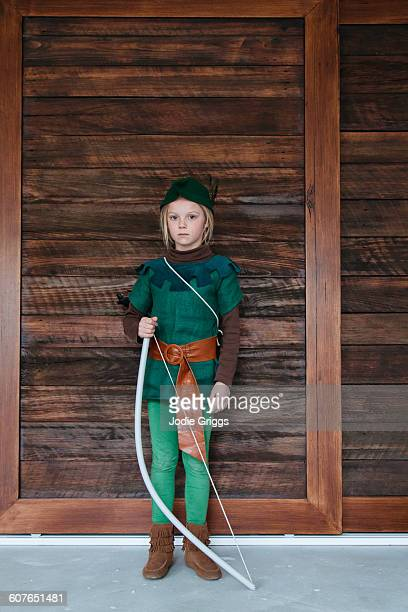 Young girl wearing a home made Robin Hood costume