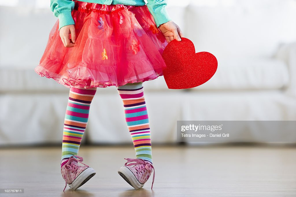 Young girl wearing colorful tights : Stock Photo