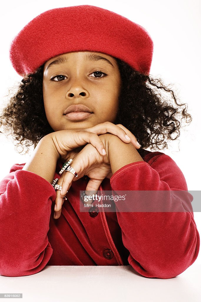 young girl wearing red beret   Stock Photo 8b0294bad28