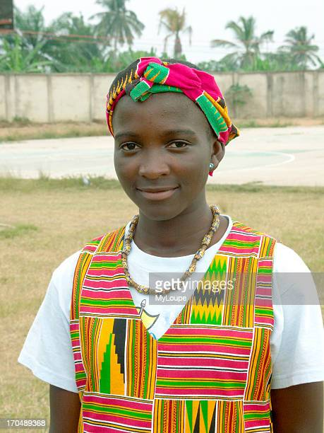 Young Girl Wearing Traditional Kente Cloth At Panafest A Cultural Festival Of The Arts That Takes Place In Ghana Every Two Years Cape Coast In...