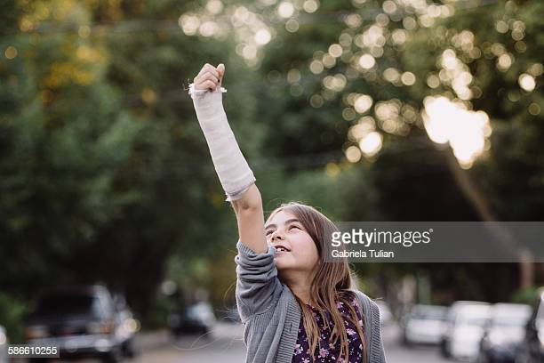 Young girl with a broken arm