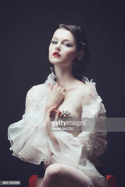 young girl with a lace top with frill burlesque - victorian erotica stock photos and pictures