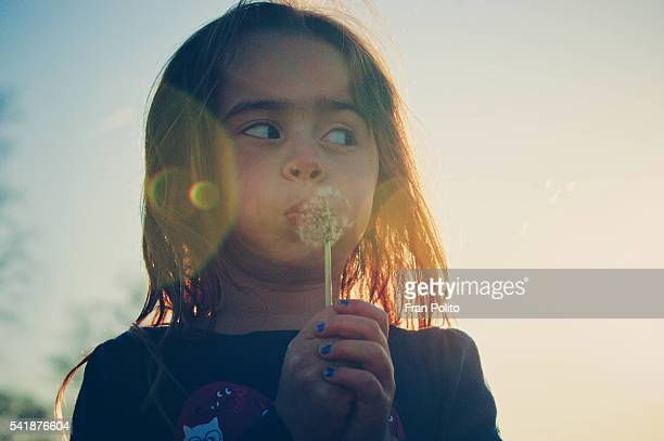 Young girl with a wish flower.