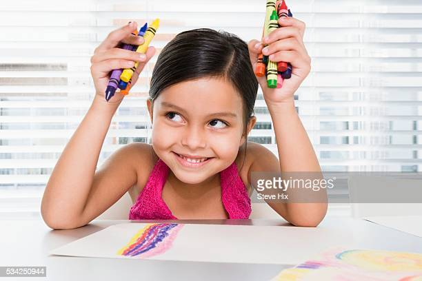 Young Girl with Crayons