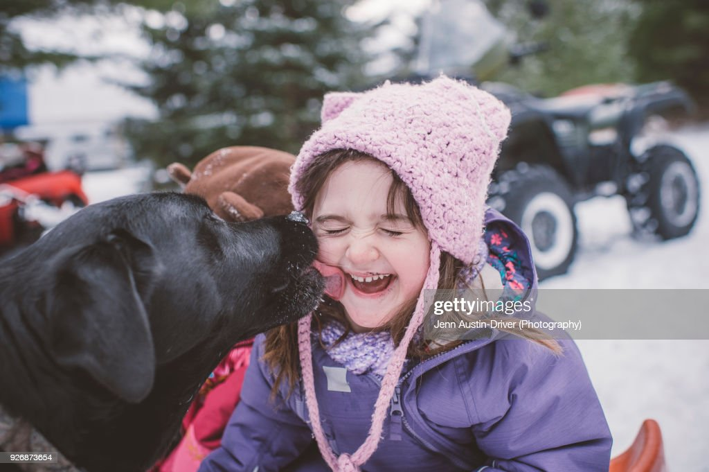 Young girl with dog in snowy landscape, dog licking girls face : Stock Photo