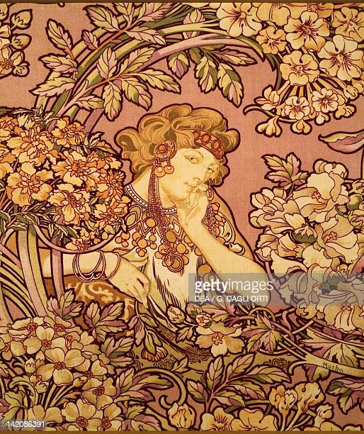 Young Girl with Flowers by Alfons Maria Mucha lithograph on silk velvet