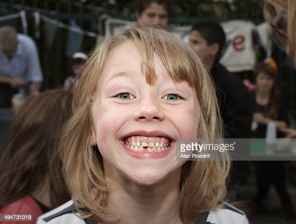 Young girl with huge gap tooth smile