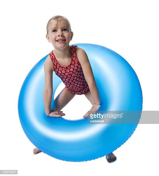 Young girl with inflatable ring