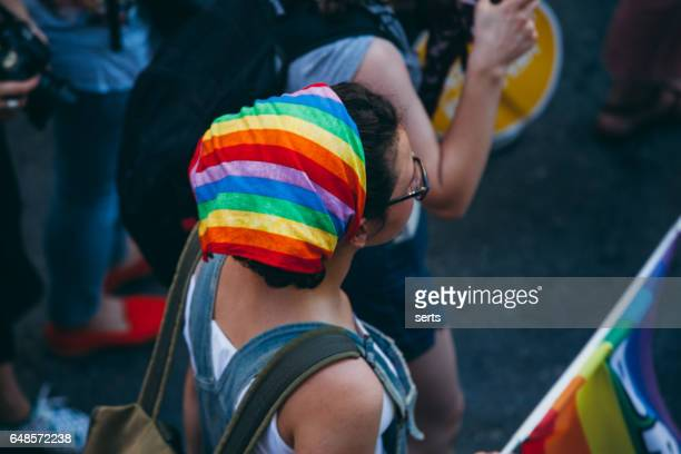 Young girl with LGBT headscarf