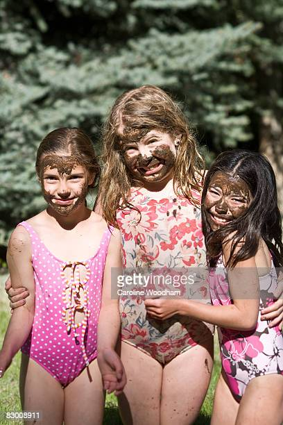 young girl with muddy faces. - ketchum idaho stock photos and pictures
