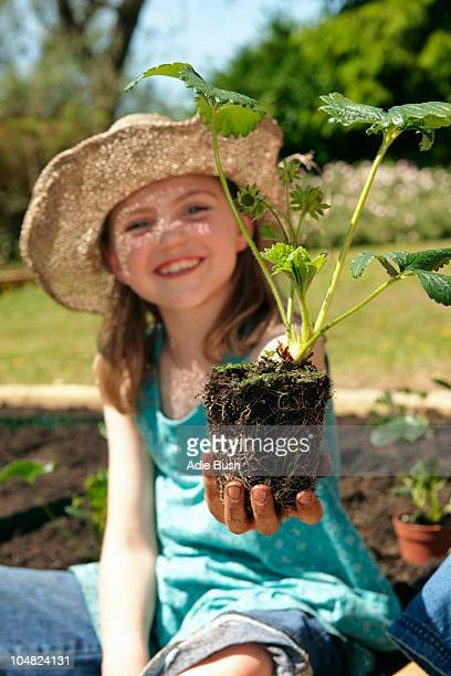 Young girl with Strawberry plant