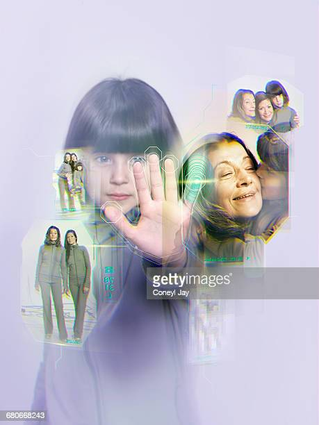 Young girl with virtual reality family album