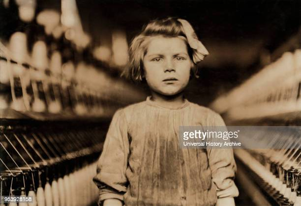 Young Girl Working as Spinner in Globe Cotton Mill, Head and Shoulders Portrait, Augusta, Georgia, USA, Lewis Hine for National Child Labor...