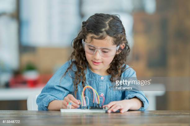 Young Girl Working on STEM Project